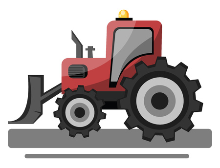 Red front loader vector illustration on white background.