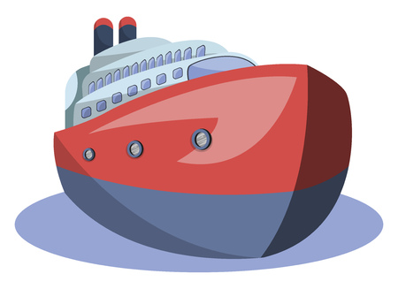 Front view of red and blue vector illustration of big ship on white background.