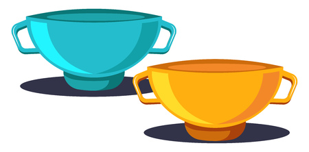 Two Coffee Cups in blue and yellow color with two handles vector color drawing or illustration.
