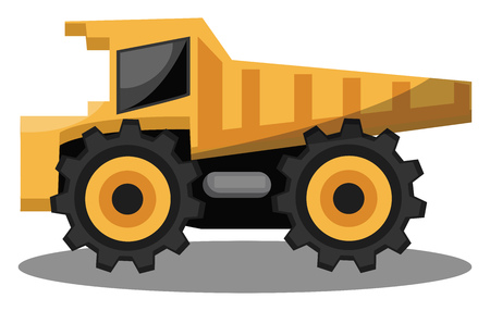 Vector illustration of yellow transporting tractor on white background. Stock Illustratie