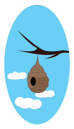 A brown bee hive hanging at the tree branch in a blue sky with 3 clouds, vector, color drawing or illustration.