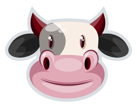 A Cow with broad mouth in pink color and horns in red color, vector, color drawing or illustration.