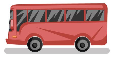 Seitenansichtvektorillustration des roten Busses auf weißem Hintergrund.