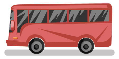 Side view vector illustration of red bus on white background. Иллюстрация