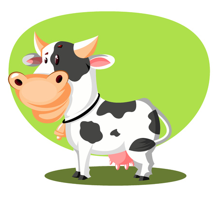 A White cow with a bell tied to its neck, with horns and in green background, vector, color drawing or illustration.