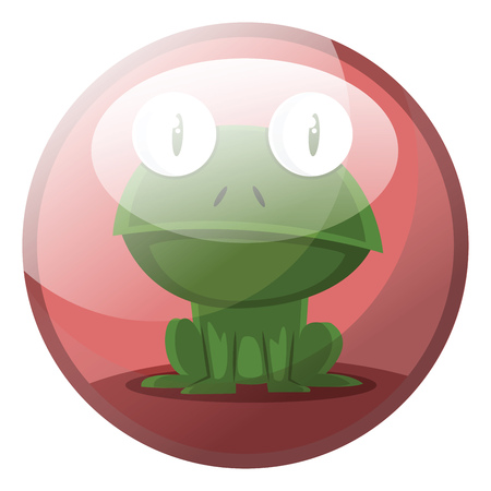 Cartoon character of a green frog sitting vector illustration in red circle on white background. Illustration
