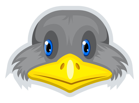 A Bird with yellow nose and blue eyes, vector, color drawing or illustration.