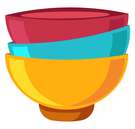 Three Bowls in red yellow and blue colors vector color drawing or illustration. Stock Illustratie