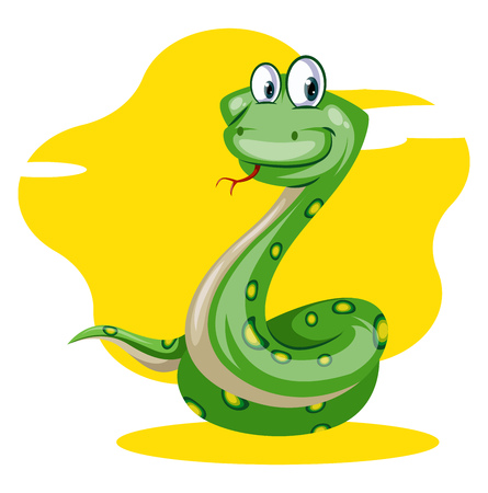 A Green snake with yellow dots in yellow background with big eyes, vector, color drawing or illustration. Illustration