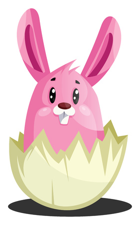 Pink Easter bunny in cracked eggshell illustration web vector on a white background