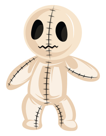 Vector illustration of cute halloween rag doll on white background.