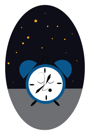 A cartoon of an alarm clock with eyes closed at night with stars in the sky, vector, color drawing or illustration. Stock Illustratie