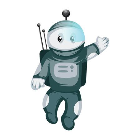 Astronaut wacing white background vector illustration. 일러스트