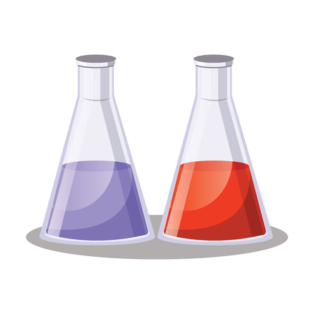 Two simple Erlenmezey flask with purple and red fluids vector illustration on white background Vector Illustratie