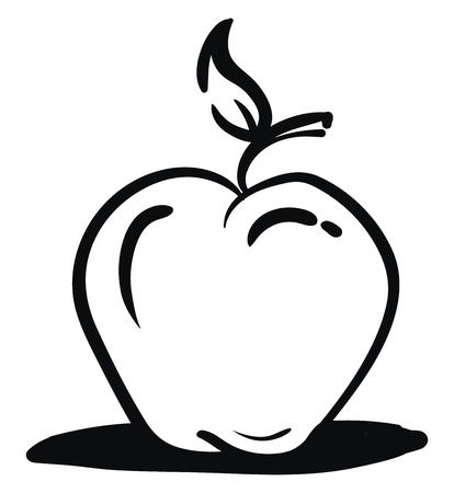 A black and white apple with a shadow, vector, color drawing or illustration.