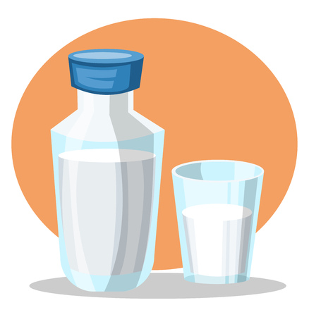 A Water Bottle with Glass  filled with water in both of them in orange background vector color drawing or illustration.