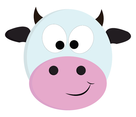 White and black cute cow vector illustration on white background. Illustration