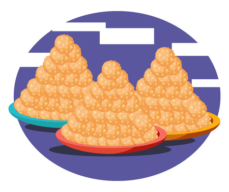 Three Plates filled with laddoos in conical shape placed in blue color background vector color drawing or illustration.