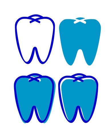 A Set of four teeth varying in size and color in blue color vector color drawing or illustration. Illustration
