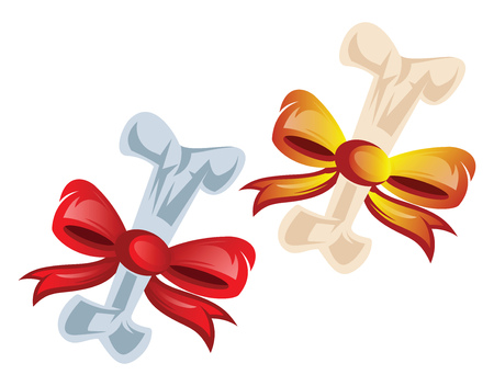 Vector illustration of two bones wraped in red and orange bows on white background. Stock fotó - 123448842
