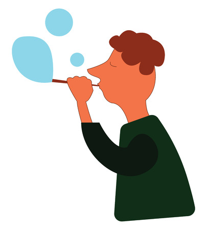 A boy in a green shirt blowing a blue colored bubbles, cartoon, vector, color drawing or illustration. Illustration