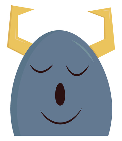 A blue colored sleeping happy monster with two yellow horns, cartoon, vector, color drawing or illustration. 일러스트