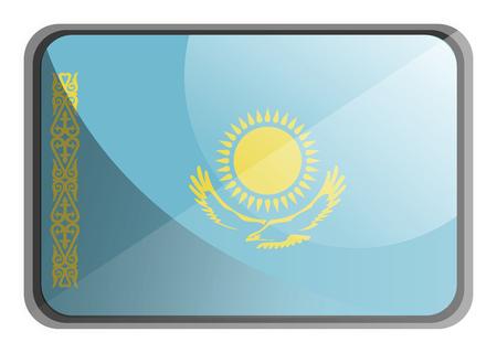 Vector illustration of Kazakhstan flag on white background. Vektoros illusztráció