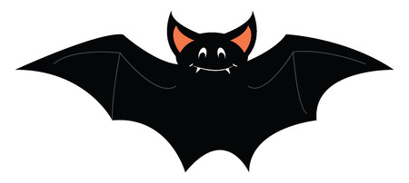 A happy gray colored bat with pink ears, cartoon, vector, color drawing or illustration. Standard-Bild - 120987503