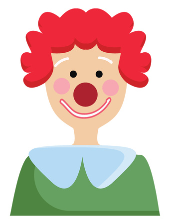 Simple vector illustration of a clown with green shirt and red curley hair white background. Banco de Imagens - 123448864