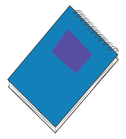 A blue notebook with a little purple rectangle shape in the front cover, vector, color drawing or illustration.
