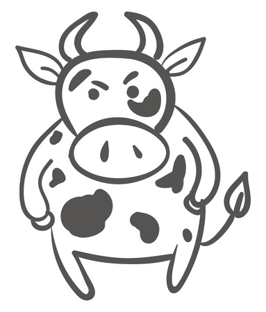 A white angry cow with gray spots, vector, color drawing or illustration.