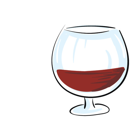 Dark red cognac in a glass vector illustration on white background. 向量圖像