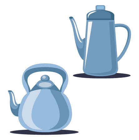 A Tea Pot in blue color to serve tea and a water jug to store water vector color drawing or illustration. Ilustrace