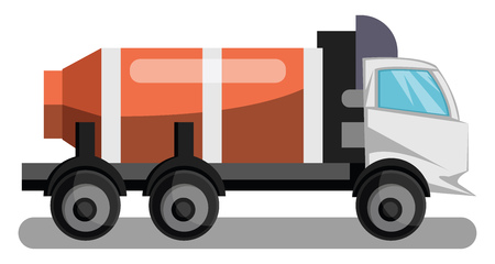 Vector illustration of white concrete truck with orange tanker on white background.