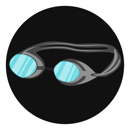 Swimming Glass to protect eyes in green color lens in black background vector color drawing or illustration. Ilustrace