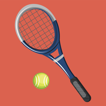 A Tennis bat and ball in red color background vector color drawing or illustration. Иллюстрация