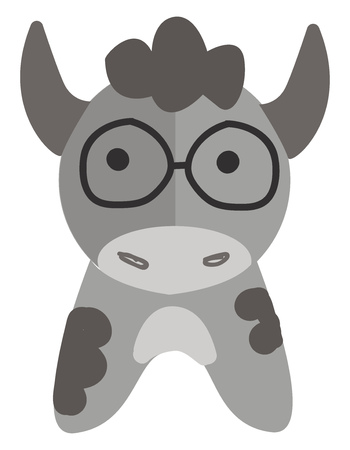 Grey cow with round glasses vector illustration on white background.
