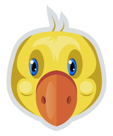 A Yellow Bird with red nose and blue eyes, vector, color drawing or illustration. Ilustração