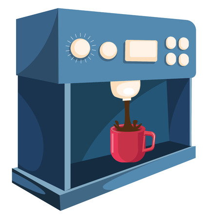 A Coffee dispenser with red cup dispensing coffee vector color drawing or illustration.