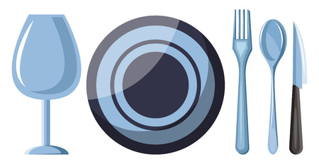 A Cutlery set includes spoons fork and knife a glass and plate on table vector color drawing or illustration.