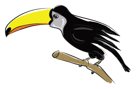 A black bird with a long yellow beak, vector, color drawing or illustration.