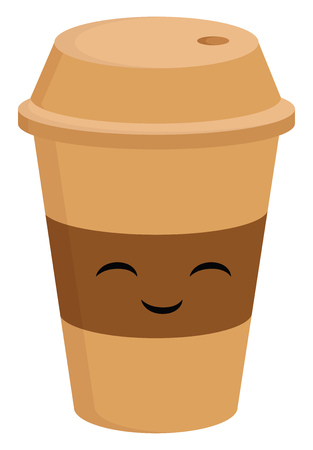 Light brown smiling coffee cup to go vector illustration on white background. Illustration