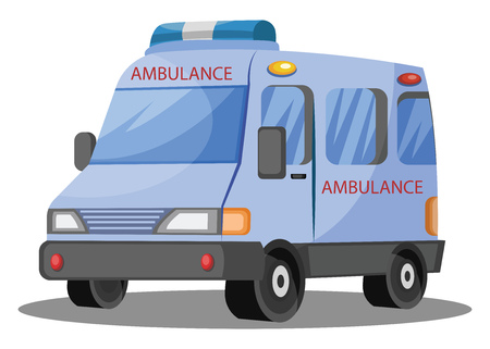 3D vector illustration on white background of ambulance vehicle. Çizim