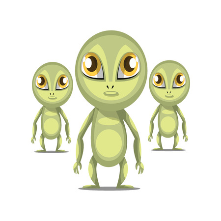 Three cartoon aliens with long arms and big eyes white background vector illustration. Illustration