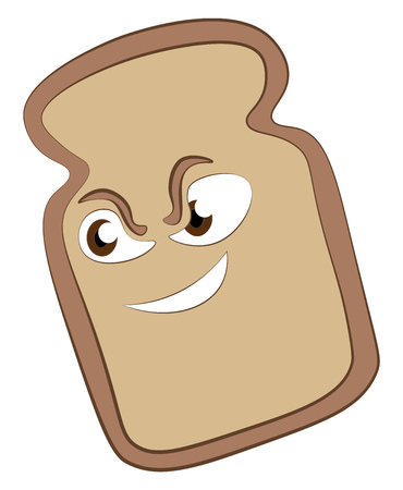 A bread slice with brown eyes and white teeth cartoon vector color drawing or illustration.