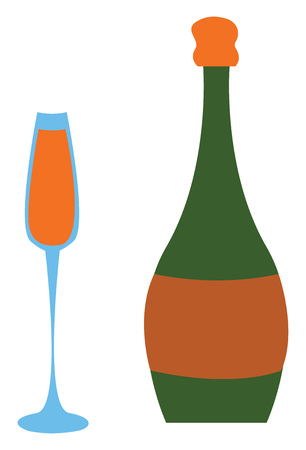 Full champagne glass and green champagne bottle vector illustration on white background.