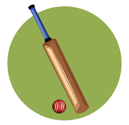 A Cricket bat and ball in brown color designed with handle to hold the bat vector color drawing or illustration.