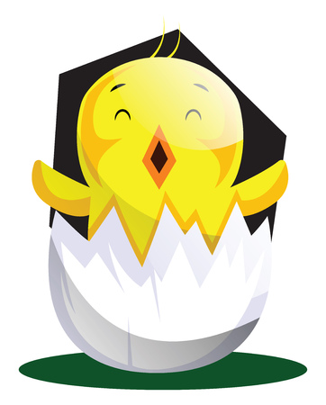 Easter chick hatching from egg shell illustrated web vector on white background