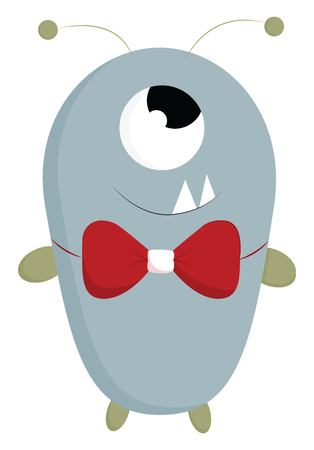 A blue happy one eyed monster with red bow tie and two sharp teeth, cartoon, vector, color drawing or illustration. Çizim