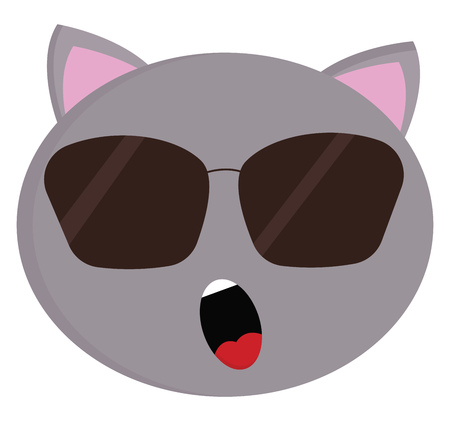 Grey cat with sunglasses vector illustration on white background. Stock Illustratie